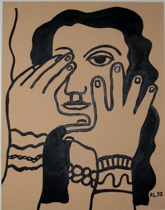 Face and Hands, 1952, Ink on paper by Fernand Léger  Image via www.highendweekly.com via MOMA #art