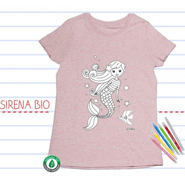 T-shirt BIO manica corta, da colorare: SIRENA