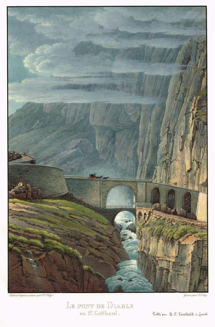Le pont de Diable au St Gotthard - aquatinte - gravure imprimée en couleurs par Franz HEGI (1774-1850) d'après Johann Jakob WETZEL (1781-1834) - MAS Estampes Anciennes - MAS Antique Prints