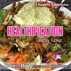 Healthification #Podcast 127: Tuesday Tucker, 5 Healthy Substitutes. http://www.brainb4body.com/127-tuesday-tucker-5-healthy-substitutes/