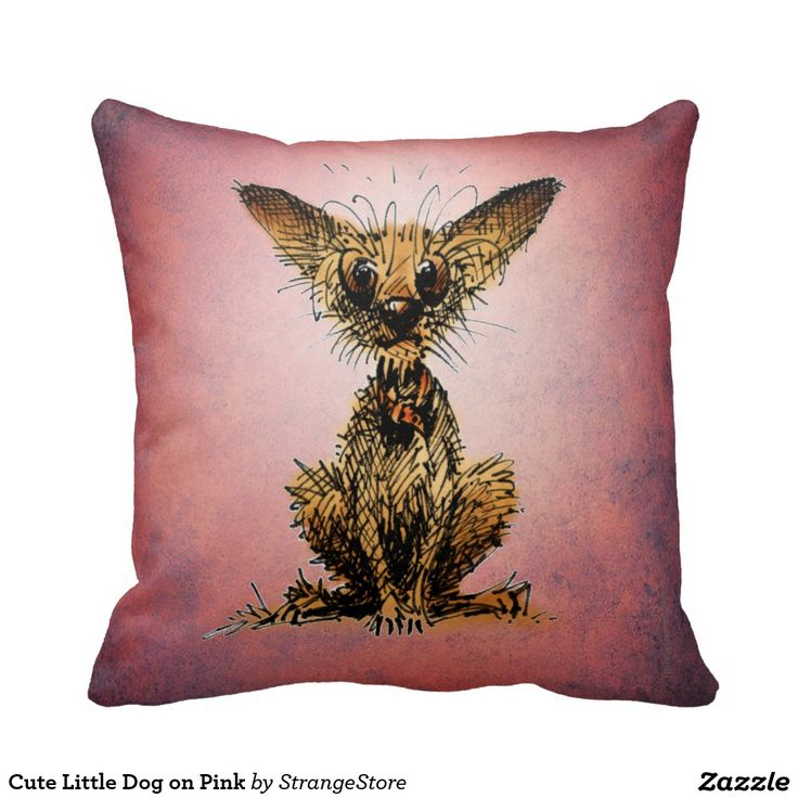 Cute Little Dog on Pink Throw Pillows from #StrangeStore