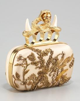 alexander mcqueen- drooling: Skull, Handbags, Alexandermcqueen, Satin Clutches, Mcqueen Embroidered, The Queen, Alexander Mcqueen Clutches, Embroidered Satin, Brass Knuckle