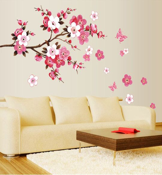 Cherry Blossom Decal,Cherry Blossom Wall Decal,tree Branch Stickers Girl  Floral Wall Decor Part 19