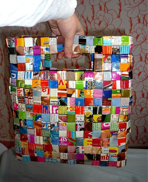 A bag made from magazines