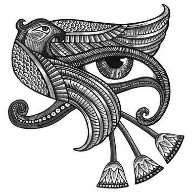 Eyes of horus parrot tattoo