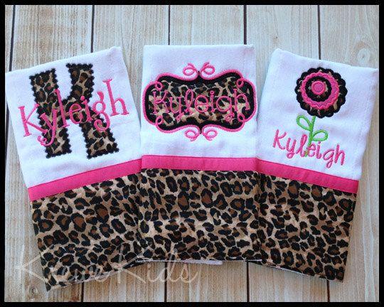Leopard Cheetah Monogram Burp Cloth Set by KreweKids on Etsy, $34.50