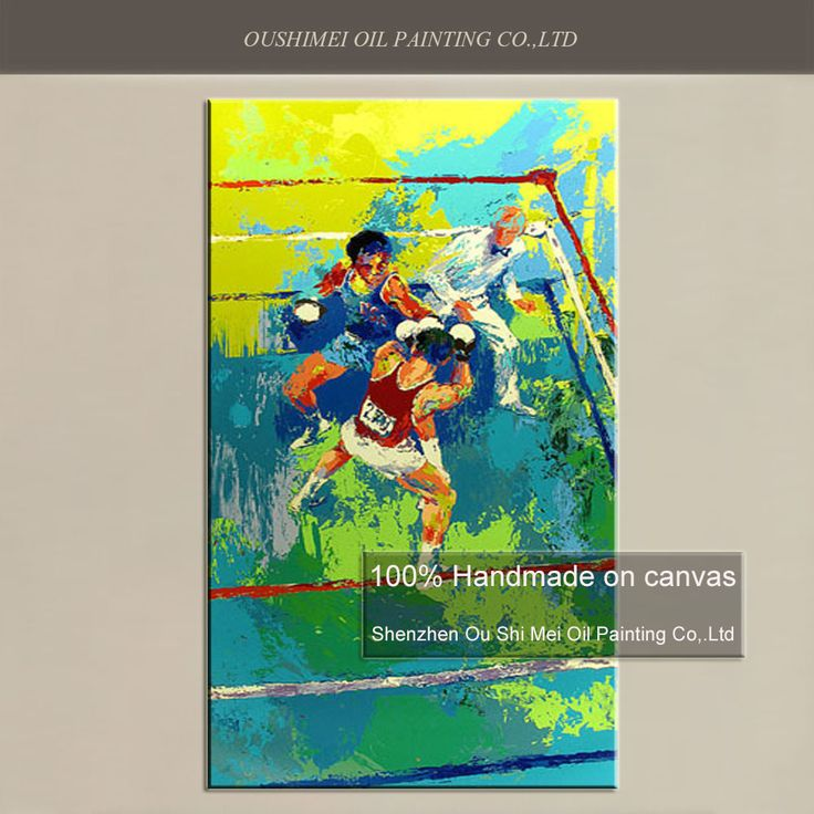 ==> [Free Shipping] Buy Best New Hand Painted Oil Painting on Canvas Olympic Boxing Moscow 1980 Wall Painting for Room Decor Sports Paintings Online with LOWEST Price | 32775022631