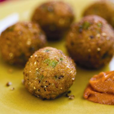 Black-Eyed Pea Fritters with Hot Pepper Sauce from Vegan Soul Kitchen