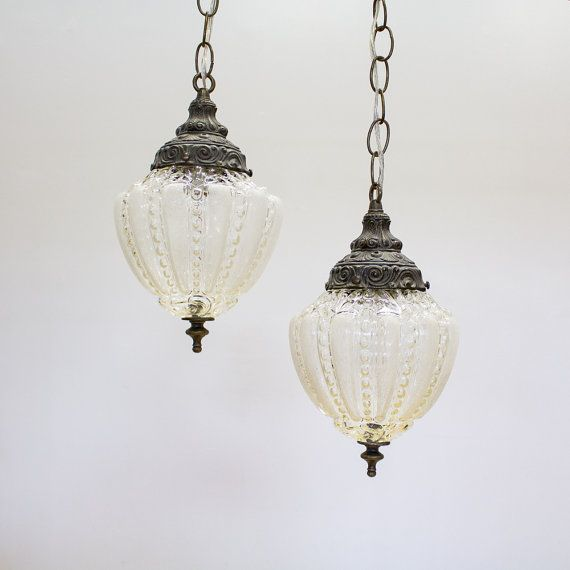 Vintage Pendant Lights Hanging Swag Lamps Set Of 2 Plug