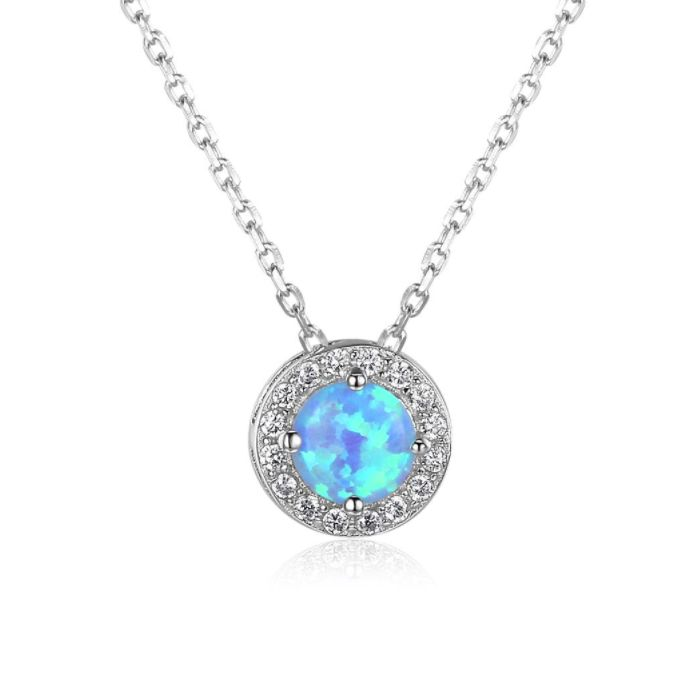 Post Included Aus Wide and to most international countries! >>> Round Halo Blue Opal Necklace - 925 Sterling Silver