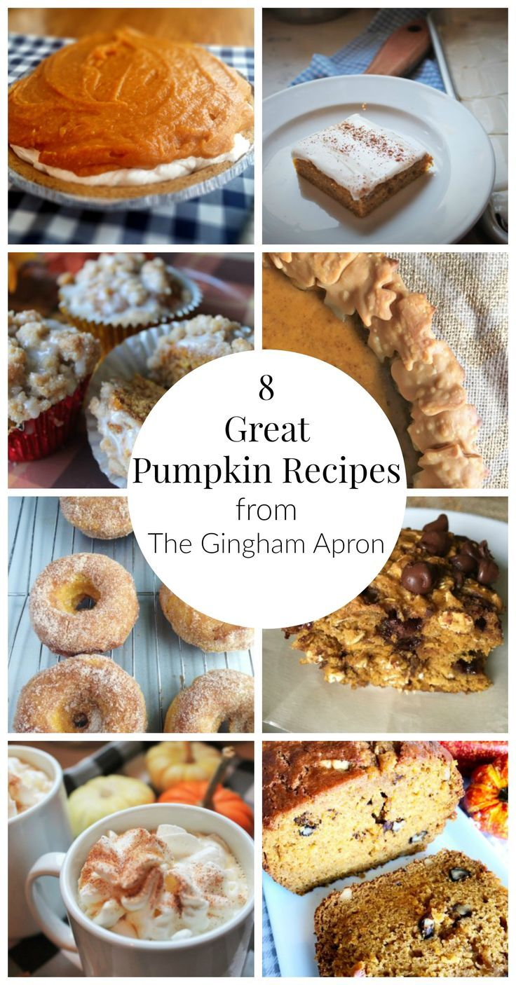 8 Great Pumpkin recipes that you'll love! Pies, bars, breads, donuts, muffins, and pumpkin spice latte. #pumpkin # fall #pumpkin spice latte