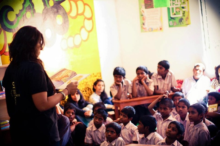 Bookwallah's launch of a beautiful library for a boy's home in India.  Volunteer from MAD is reading Winnie the Pooh to the children.  The message - every child is special.
