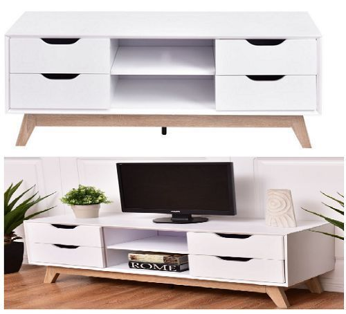 Cabinet TV Stand Storage Shelves White Home Entertainment Furniture Modern Home #CabinetTVStand #Modern