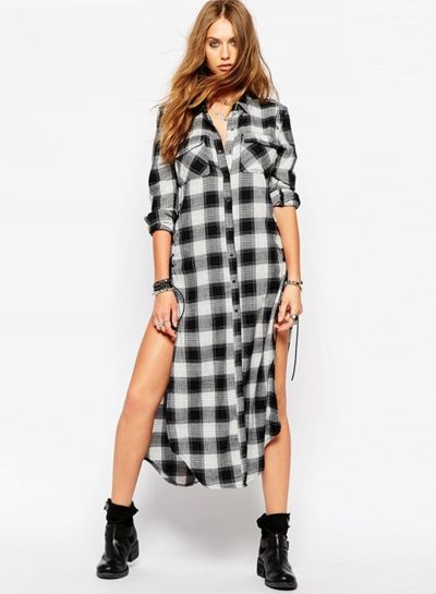 Checked Longline Side Split Shirt With Eyelet Lace Up - OASAP.com