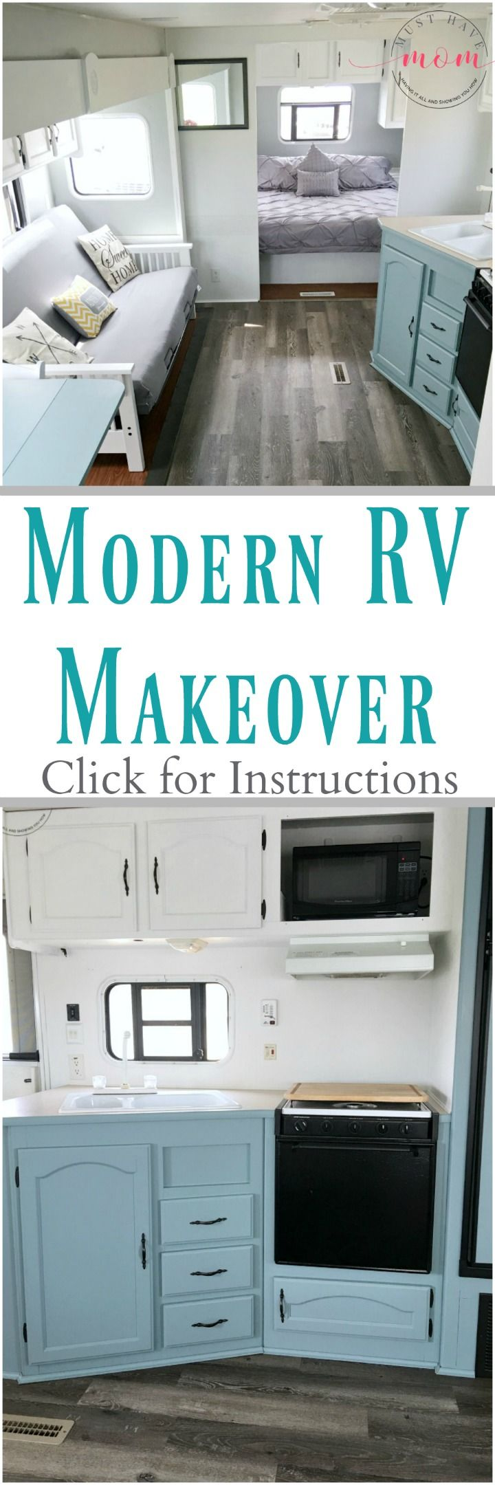 Easy RV Makeover design with instructions to remodel RV interior, paint RV walls, paint 2 tone kitchen cabinets idea! LOVE this airy space!!