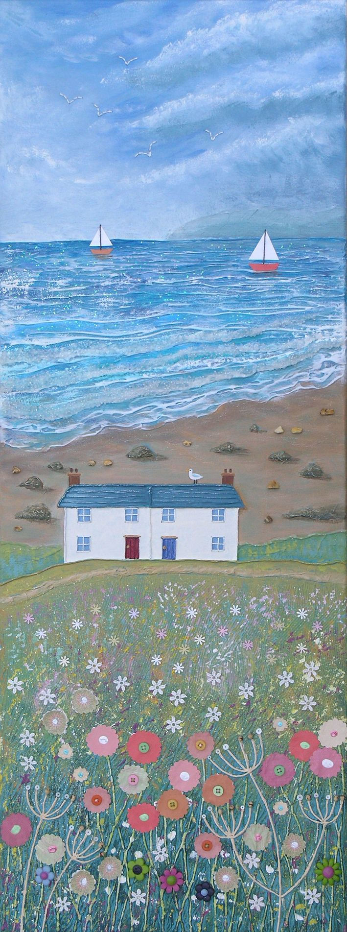 'You should see the wonderful views from my house', she said. Painted by Jo Grundy.