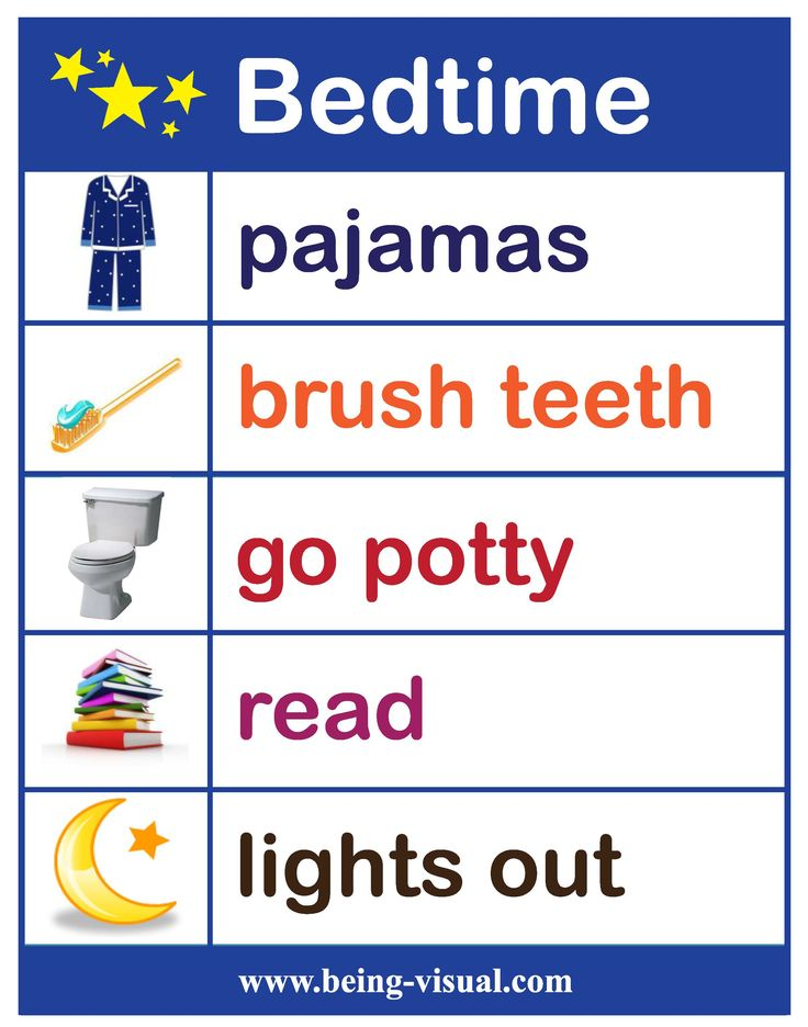 """A favorite visual list - our bedtime chart.    I'd just add """"prayers"""" after read."""