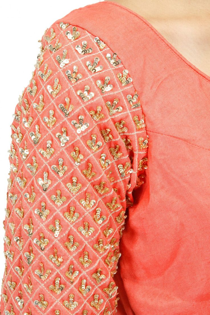 PRATHYUSHA GARIMELLA Light blue scattered sequin lehenga with coral blouse available only at Pernia's Pop-Up Shop.