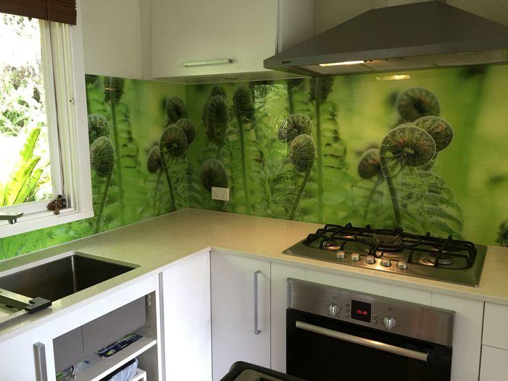 Printed glass Splashback. Photograph of ferns taken by Seein, printed by Seein and installed by Seein. A beautiful kitchen Splashback.