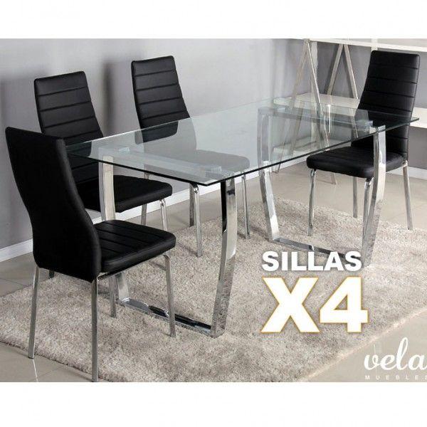 Conjunto de mesa y sillas de comedor formado por una Mesa de comedor fija sillas de polipiel negra y estructura cromada de estilo moderno. Puedes elegir realizar tu pedido con 4 o 6 sillas de comedor.