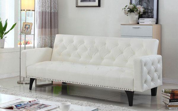 Modern Tufted Bonded Leather Sleeper Futon Sofa with Nailhead Trim in White