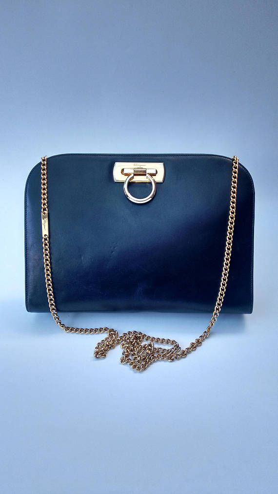 b0e79e2c83d8 SALVATORE FERRAGAMO Vintage Gancini Navy Dark Blue Leather ...