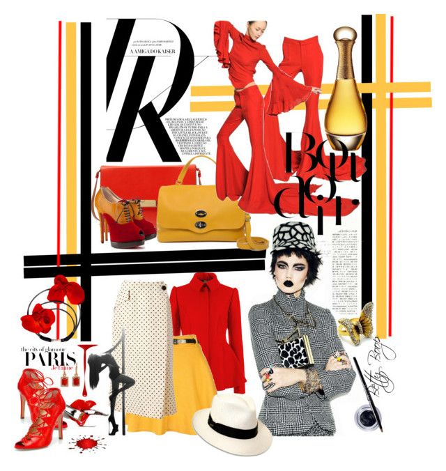 Fab in February: Bright Red by betiboop8 on Polyvore featuring Ted Baker, Gareth Pugh, Geoffrey Beene, Christian Louboutin, Charline De Luca, Fantasy Jewelry Box, Irene Neuwirth, Maybelline, Zanellato and STELLA McCARTNEY