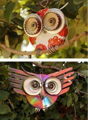 Pinterest Recycled Product Craft Ideas | How to make a Recycled CD Owl http://recycledawblog.blogspot.com/2013 ...