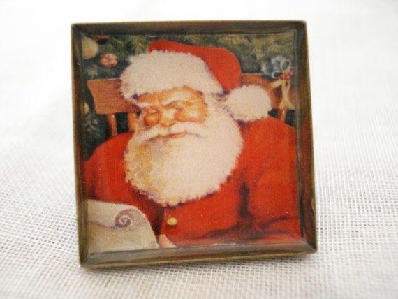 Santa Ring Christmas holiday ring Red Santa claus ring