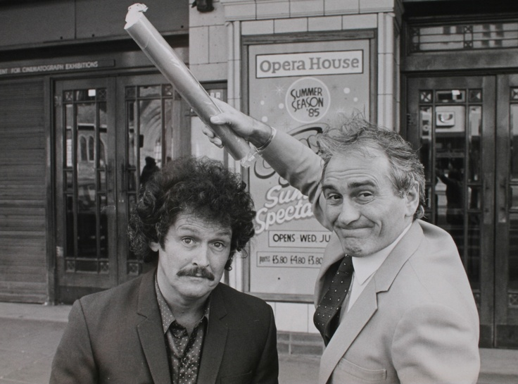 Canon and Ball outside Blackpool's Grand Theatre with their stick of Coronation rock