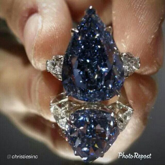 "By @Christie's ""The Blue: Largest Flawless Fancy Vivid Blue Diamond in the World. On view this weekend at Christie's New York. 