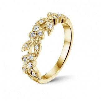 Geelgouden Diamanten Ringen - Florale alliance in geel goud met kleine ronde diamanten