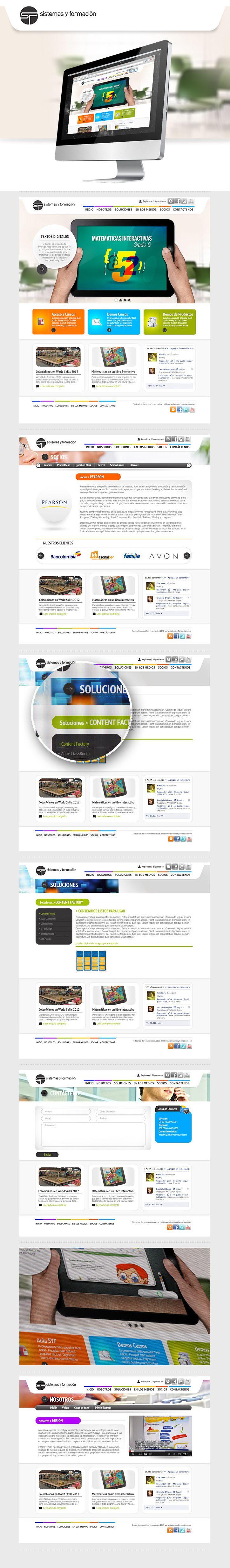 Rediseño web para una empresa Colombiana que desarrolla aplicaciones dirigidas a la formación de personal estudiantil y empresarial, minimalismo y espacios blancos hacen del sitio agradable a la vista a la vez que combinado con colores vivos, genera puntos fuertes donde se focaliza la atención del usuario.