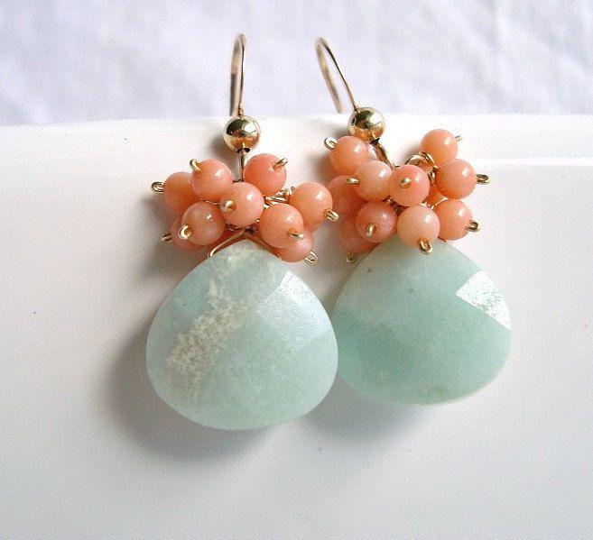 Peach Coral Amazonite Earrings Gold Filled by BellaAnelaJewelry, $30.00