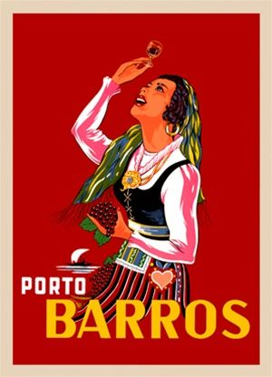 Porto Barros 1940 France - Beautiful Vintage Poster Reproductions. This french wine and spirits poster features a traditionally dressed woman with grapes in her hand and holding up a glass to look at the wine. Giclee Advertising Print. Classic Posters