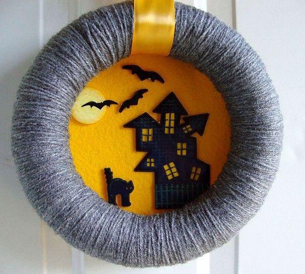 DIY Halloween wreaths ideas front door Halloween wreath cat houses flying bat