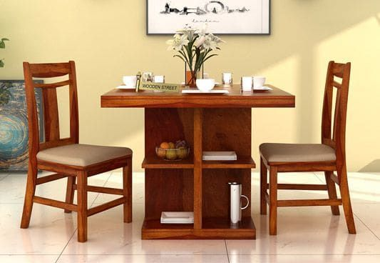 Ralph 2 Seater Dining Set With Storage Honey Finish In