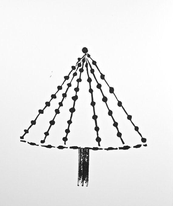 Modern Christmas Tree Linocut Decor Black art by RetroModernArt