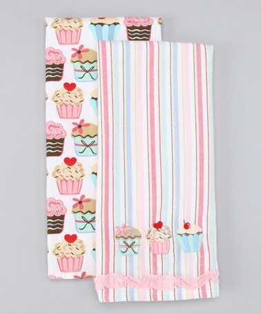 Take a look at this Design Imports Cupcakes Dish Towel - Set of Two  by Crazy for Cupcakes Collection