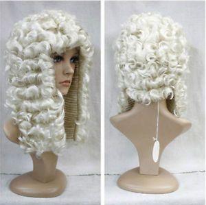WHITE ADULT JUDGE WIG BARRISTER LAWYER COURT JUDGES FANCY DRESS COSTUME ACCESSOR | eBay