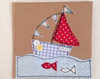 "Sailing boat handmade textile card - embroidered 6"" x 6"" textile card"