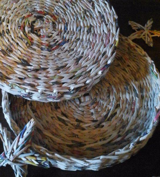 Vassoi - Cesto  vassoio diametro 35 - un prodotto unico di IDEANDO-il-carta-riciclo su DaWanda