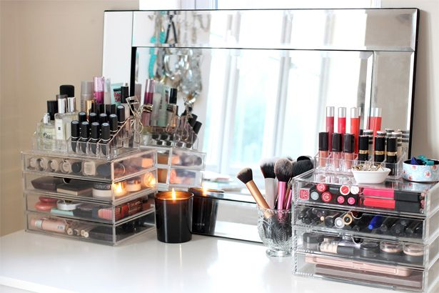 makeup storage, how to organize makeup, clear makeup display, makeup opberg ideetjes, makeup opbergen