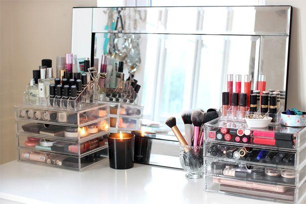 makeup storage, how to organize makeup, clear makeup display, makeup opberg ideetjes, makeup opbergen