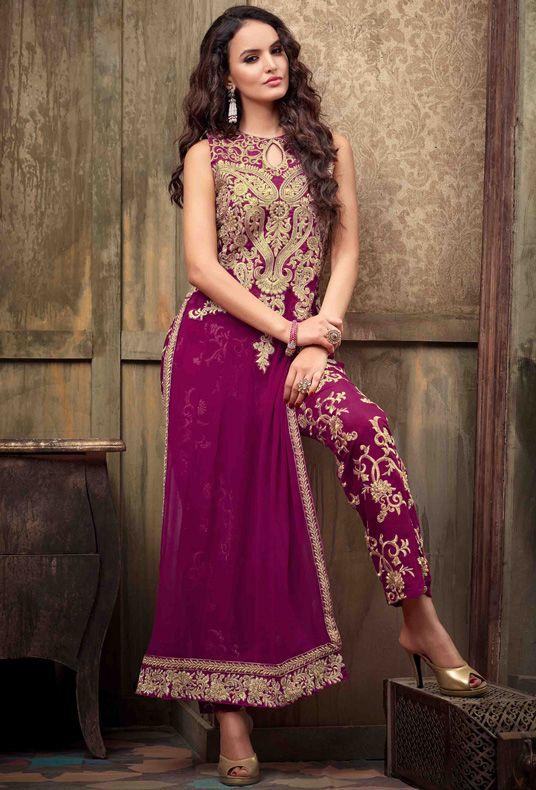 USD 86.49 Magenta Georgette Pakistani Style Suit 54413