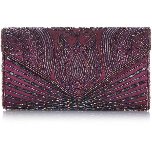 Vintage Inspired Plum Beatrice Wedding clutch purse bag Hand... (€43) ❤ liked on Polyvore featuring bags, handbags, clutches, evening clutches, vintage handbags, vintage beaded purse, evening purses and chain strap purse