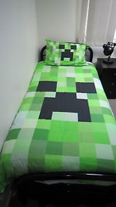 minecraft creeper bed | Details about Minecraft creeper single bed quilt cover / doona cover