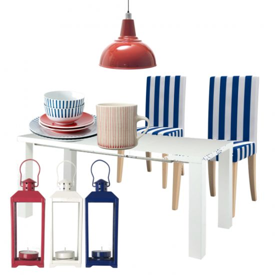 Create a shipshape dining room with statement stripes and a simple palette