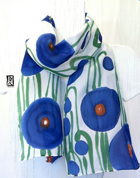 Silk Scarf Handpainted, Gift for her, Christmas Gifts, Silk Scarf Blue, Navy Blue Poppies Scarf, 8x54 inches, Made to Order,