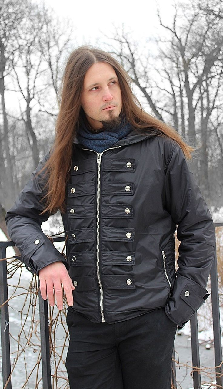Spring/autumn men jacket made of waterproof textile.Metal buttons all around.Blue lining.--> STRICTLY LIMITED TO A SINGLE PIECE!!! <--Fully handcrafted and one of a kind.Chest: ...